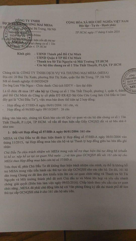 Văn bản Công ty MESA thông báo cho thấy, Công ty CP ĐT-SX-KD Sài Gòn - Cửu Long lật lọng thoả thuận khiến 187 căn hộ không được cấp sổ?