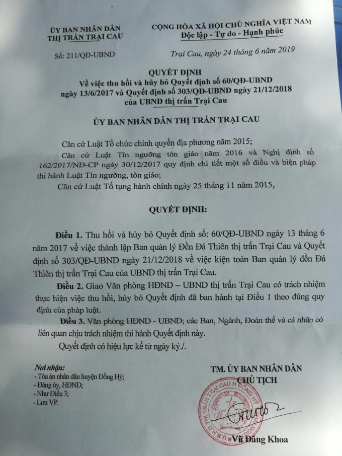 Quyết định thu hồi và huỷ bỏ quyết định 60 của UBND thị trấn Trại Cau