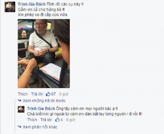 Người đàn ông liên tục cảm ơn người dân đã cứu chữa kịp thời. Nguồn: Facebook Trịnh Gia Bách/www.otofun.net