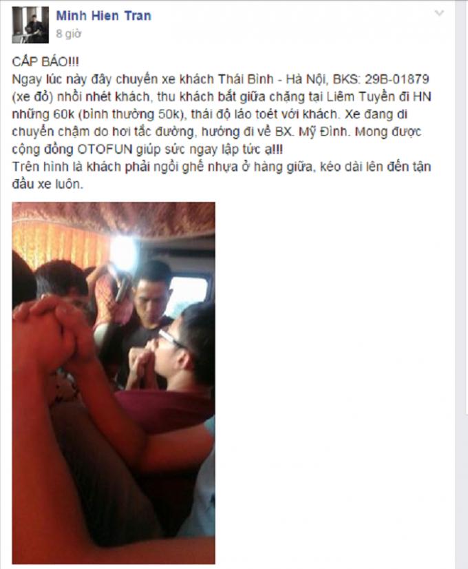 Khách hàng kêu cứu vì chất lượng dịch vụ xe khách. Nguồn: Minh Hien Tran/www.otofun.net