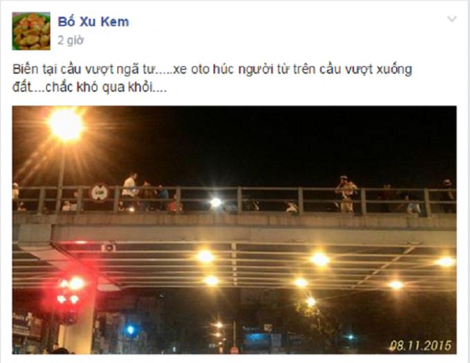Hiện trường vụ tai nạn trên cầu vượt Thái Hà - Chùa Bộc. Nguồn: Bố Xu Kem/www.otofun.net