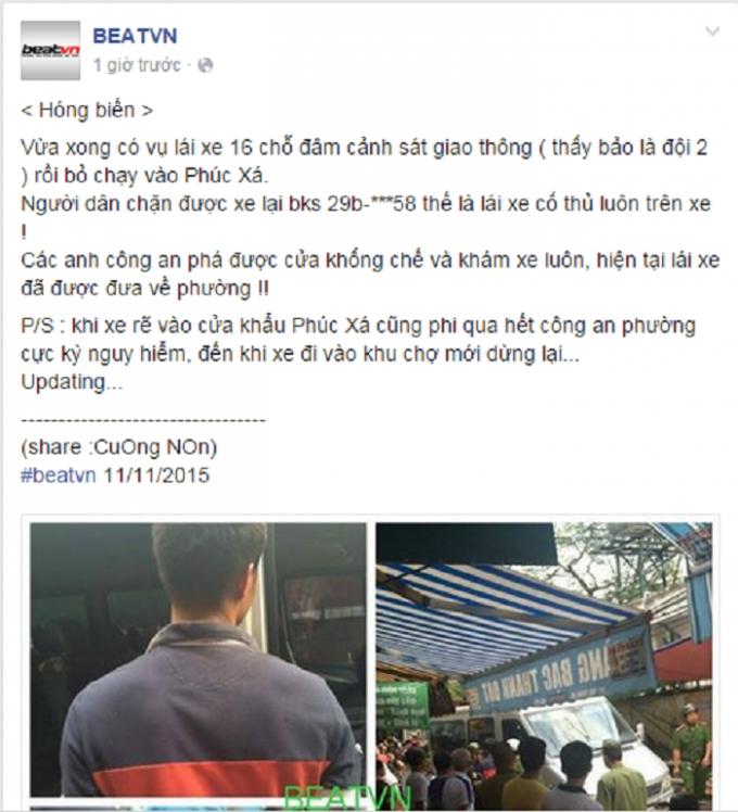 Thông tin lái xe 16 chỗ đâm CSGT tại Phúc Xá, Hà Nội xuất hiện trên mạng xã hội Facebook chiều 11/11. Nguồn: BEATVN