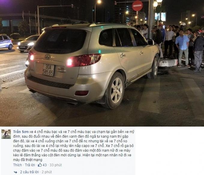 Chiếc xe ô tô 7 chỗ màu bạc đâm vào cột đèn mới chịu dừng lại.Nguồn: Facebook Trung tâm tin tức VTV24.