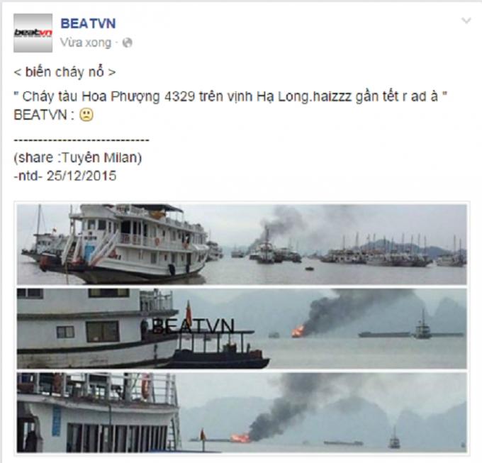 Thông tin tàu cháy giữa Vịnh Hạ Long trên mạng xã hội. Nguồn: BEATVN