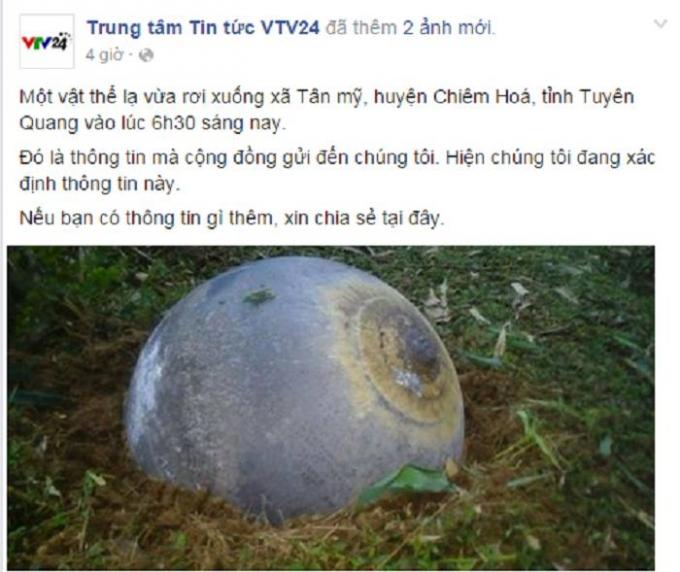 Hình ảnh vật thể lạ rơi xuống Tuyên Quang. Nguồn: Trung tâm tin tức VTV24