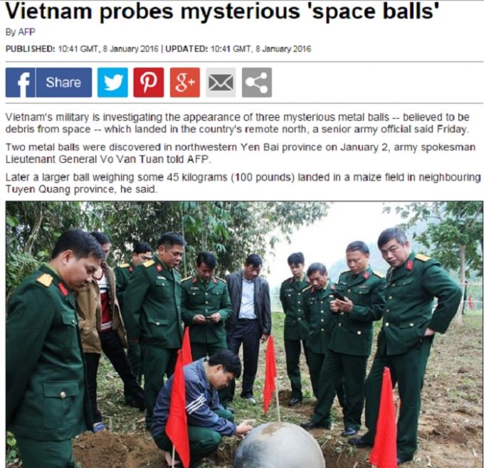 Daily Mail đưa tin liên quan đến các vật thể lạ được phát hiện ở Việt Nam.