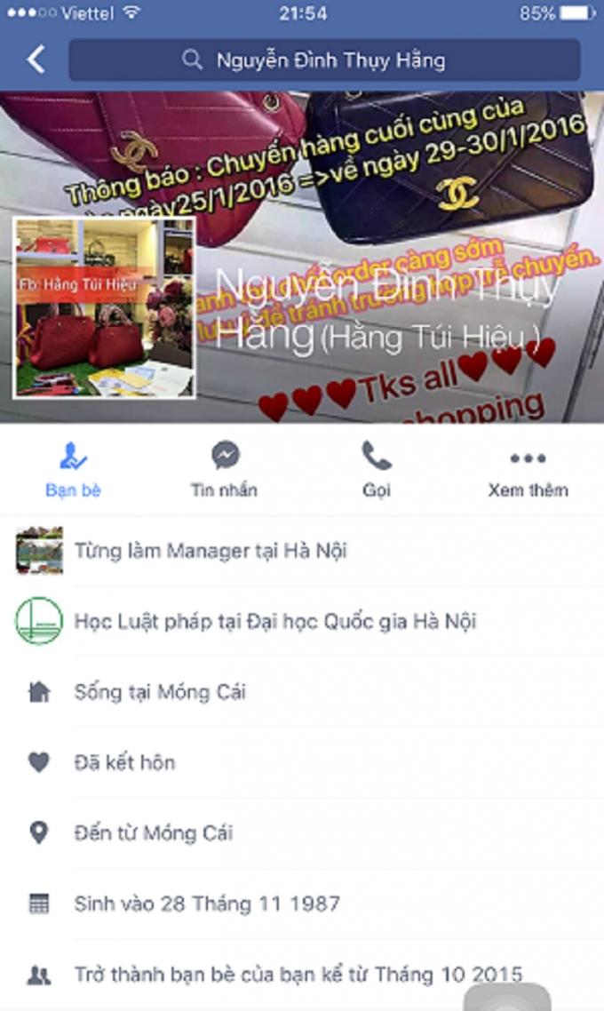 Trang Facebook cá nhân của Nguyễn Đình Thụy Hằng.
