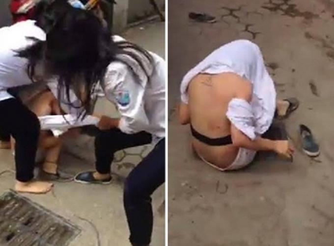 Hình ảnh trong clip nữ sinh ẩu đả xuất hiện trên mạng xã hội ngày 29/9/2015.