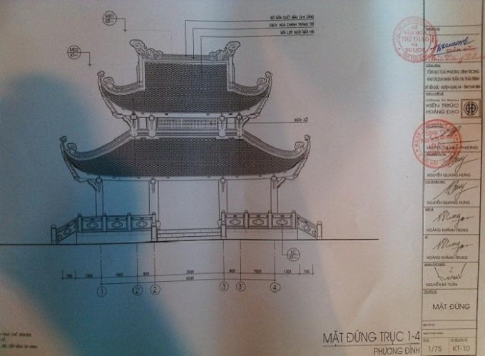 Bản thiết kế tòa Phương Đình nằm trong khuôn viên Di tích cấp quốc gia đặc biệt Khu lăng mộ và đền thờ các vị vua triều Trần (xã Tiến Đức, huyện Hưng Hà, tỉnh Thái Bình).