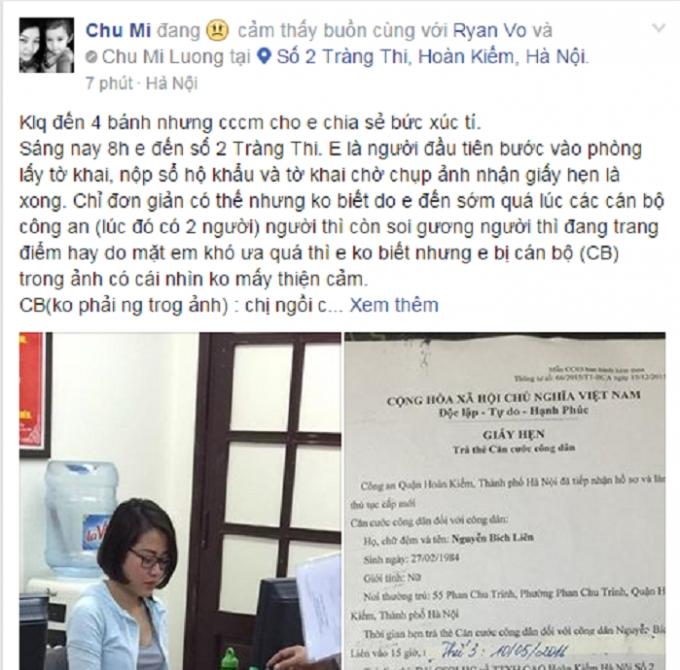Facebooker Chu Mi tỏ ra vô cùng bức xúc.Nguồn: Chu Mi/Otofun.