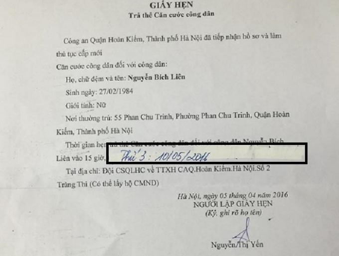 Tờ giấy hẹn bị tố là đã bị sửa chữa để lùi ngày công dân đến nhận thẻ căn cước. Nguồn: Chu Mi/Otofun.