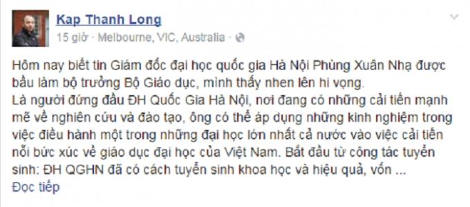 Bài viết của nhà báo Thành Long trên trang Facebook cá nhân.