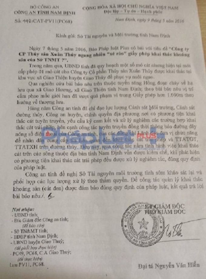 Công văn số 448/CAT-PV11(PC68) của Công an tỉnh Nam Định ký ngày 9/5 gửi Sở TN&MT tỉnh Nam Định.