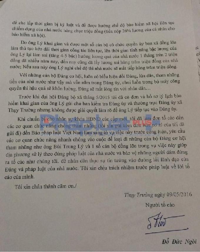Đơn tố cáo của ông Đỗ Đức Ngòi gửi báo Pháp luật Việt Nam.