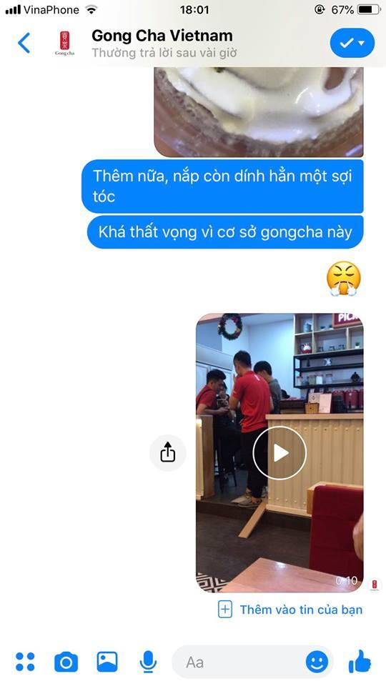 Chị N.M.T phản hồi với Gong Cha