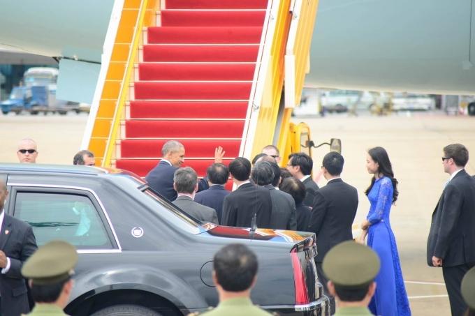 Tổng thống Obama có mặt tại sân bay. (Ảnh: Vietnamnet).