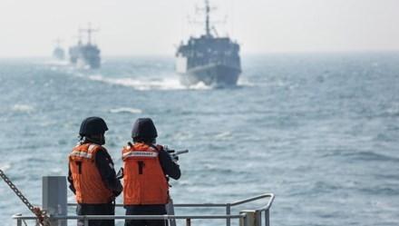 Hình ảnh một cuộc tập trận trên biển Baltic (Ảnh:RIA Novosti).
