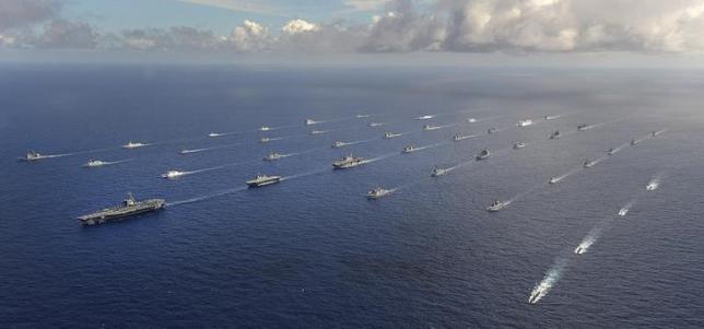 Tàu của các nước tham gia tập trận ở RIMPAC 2014. (Ảnh: Reuters).