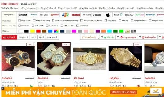 """Tìm kiếm bằng cụm từ """"đồng hồ Rolex"""", sàn thương mại Sendo.vn cho kết quả là 69.863 sản phẩm là hàng có dấu hiệu giả, nhái."""