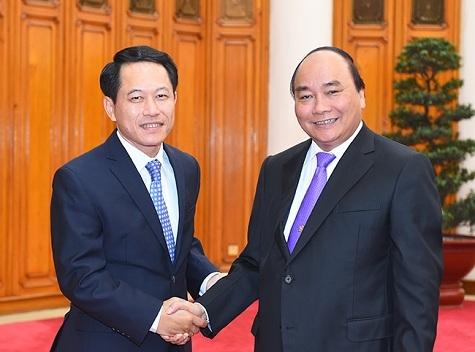 Thủ tướng tiếp Bộ trưởng Ngoại giao Lào. (Ảnh: VGP)