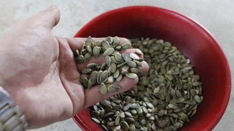 Khác với dưa hấu thường có hạt màu đen, loại dưa này có hạt màu xanh. (Ảnh: Chinanews).