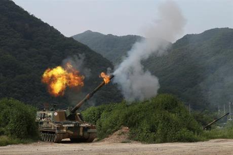 Pháo tự hành của quân đội Hàn Quốc. (Ảnh: Yonhap)