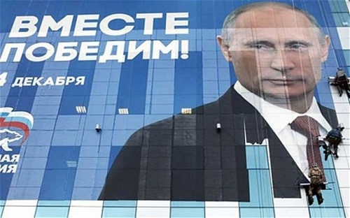 Đảng nước Nga thống nhất sử dụng hình ảnh của Tổng thống Putin trong chiến dịch tranh cử. (Ảnh: Reuters)