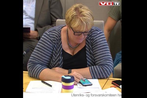 Bà Grande bị bắt gặp chơi Pokemon Go khi cuộc họp được phát sóng trên truyền hình. (Ảnh: VG TV).