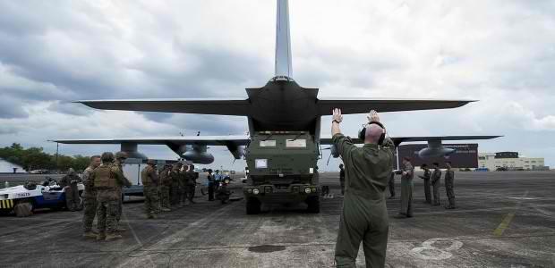Máy bay vận tải US C-17 của Không quân Mỹ. (Ảnh: Philnewsportal).