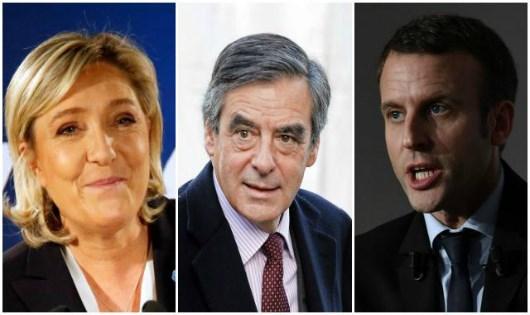 Các ứng cử viên Marine Le Pen (ngoài cùng bên trái), Francois Fillon (giữa) và Emmanuel Macron.