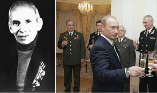 Ông Koval và cựu Thủ tướng Nga Putin tại lễ truy tặng danh hiệu cho ông.