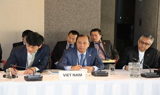 Thứ trưởng Ngoại giao Nguyễn Quốc Dũng tại phiên họp.