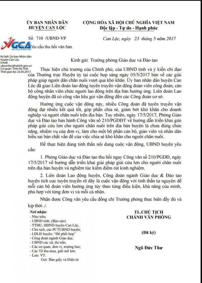 Công văn thu hồi của UBND huyện Can Lộc.