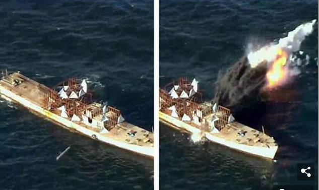 Khoảnh khắc tên lửa Triều Tiên dội vào mục tiêu di chuyển trên biển. (Ảnh: Rodong Sinmun)