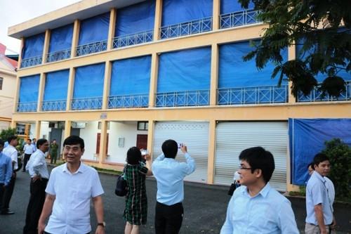 Khu vực in sao đề thi ở Đại học Hàng hải Hải Phòng được rào kín mít. (Ảnh: Giang Chinh)