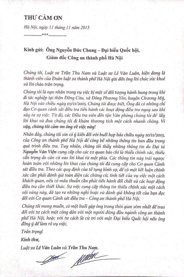 Bức thư luật sư Lê Văn Luân và Trần Thu Nam gửi GĐ Công an TP. Hà Nội.