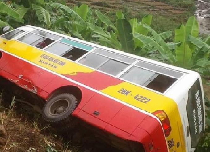Chiếc xe bị hư hại nặng sau vụ tai nạn.