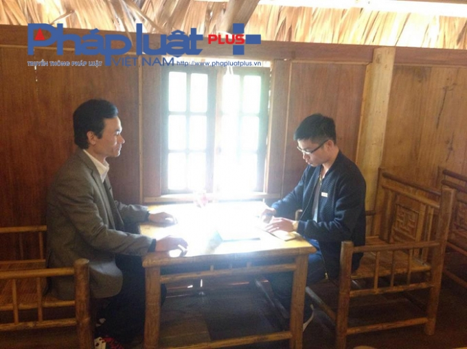 Ông Lê Trọng Thanh - Phó giám đốc Công ty Phát triển Tùng Lâm làm việc với phóng viên Phapluatplus.vn
