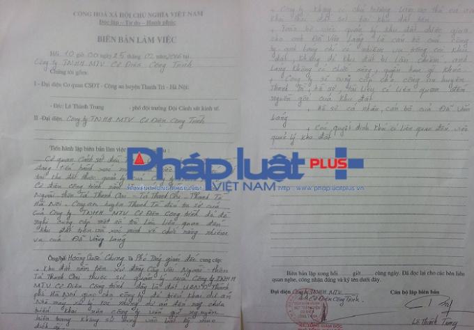 Biên bản làm việc giữa Cơ quan an huyện Thanh Trì với lãnh đạo Công ty TNHH MTV Cơ điện Công trình.