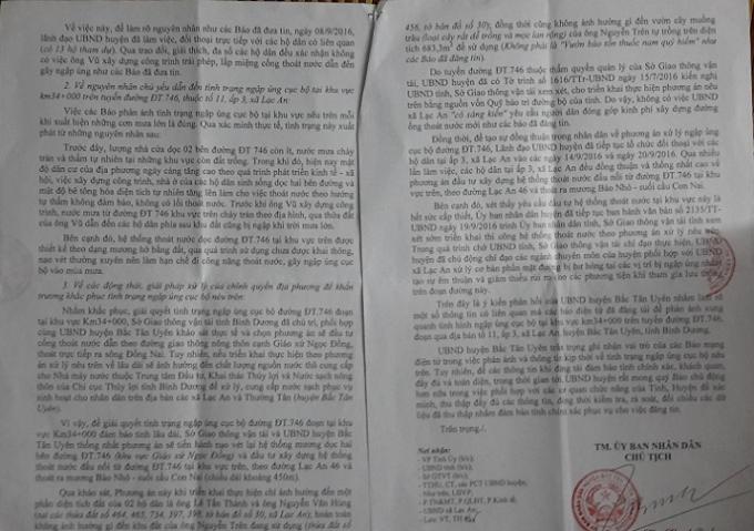 Nội dung văn bản trả lời của lãnh đạo UBND huyện Bắc Tân Uyên gửi cơ quan báo chí.