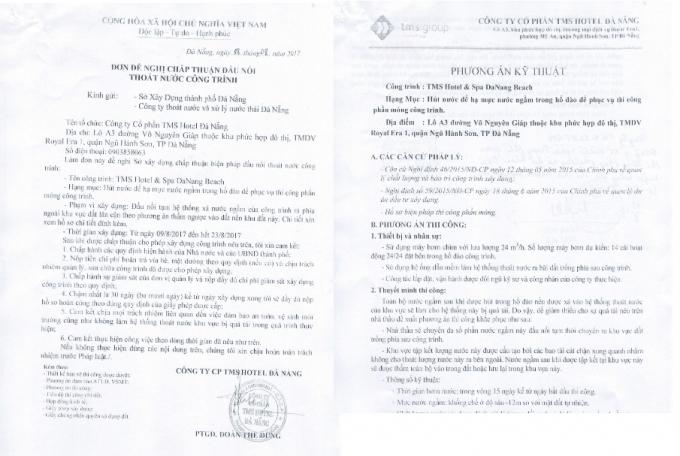 Các văn bản đề nghị củaCông ty TMS Hotel Đà Nẵng.