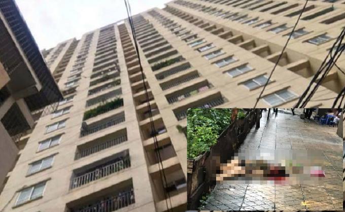 Tòa nhà nơi xảy ra sự việc (ảnh lớn), nạn nhân tử vong (ảnh nhỏ).