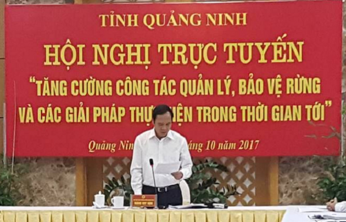 Đồng chí Đặng Huy Hậu báo cáo với Chính phủ về công tác quản lý, phát triển rừng của tỉnh Quảng Ninh.