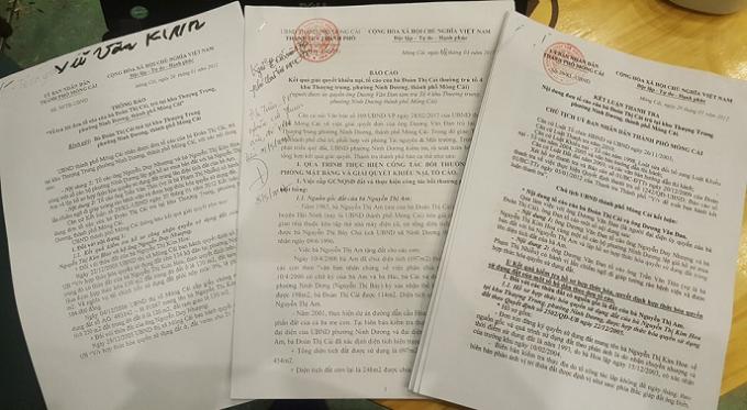 Các Vản bản trả lời nội dung đơn thư khiếu nại của TP Móng Cái.