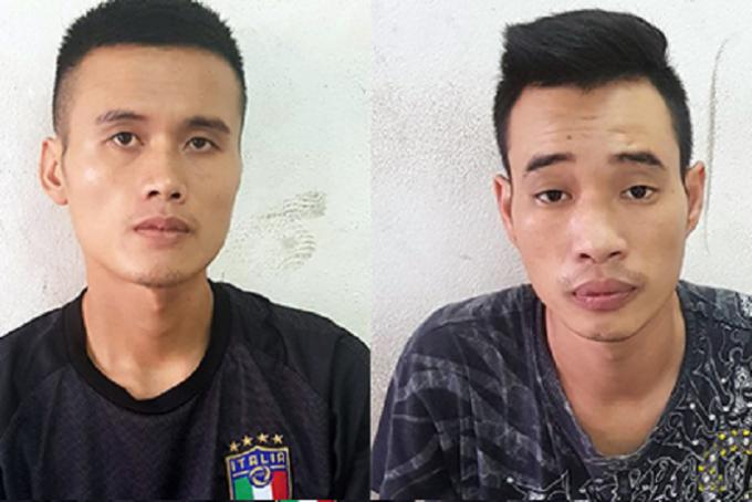 Hai nghi phạm tại cơ quan công an.