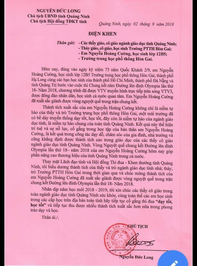 Nội dung Điện khen dành cho Nguyễn Hoàng Cường và các thầy, cô trường THPT Hòn Gai.