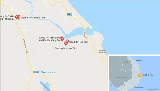 Xã Hòa Tâm, huyện Đông Hòa, Phú Yên. Ảnh: Google Maps.