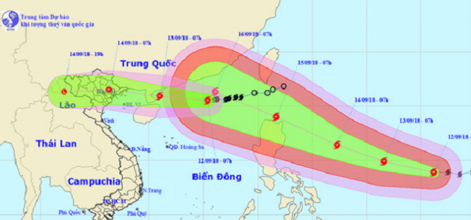 Sáng sớm 14/9, tâm bão số 5 có thể nằm ngay trên bờ biển các tỉnh từ Quảng Ninh tới Nam Định.
