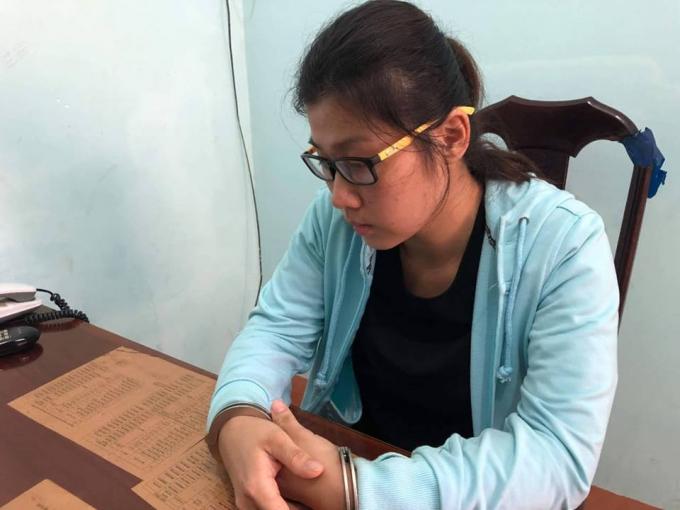 Trịnh Thu Trang tại cơ quan điều tra.