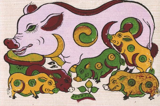 Đàn lợn trong tranh Đông Hồ.